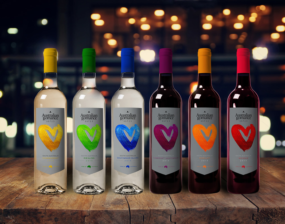 creative design of wine bottle labels for range of 6 varieties